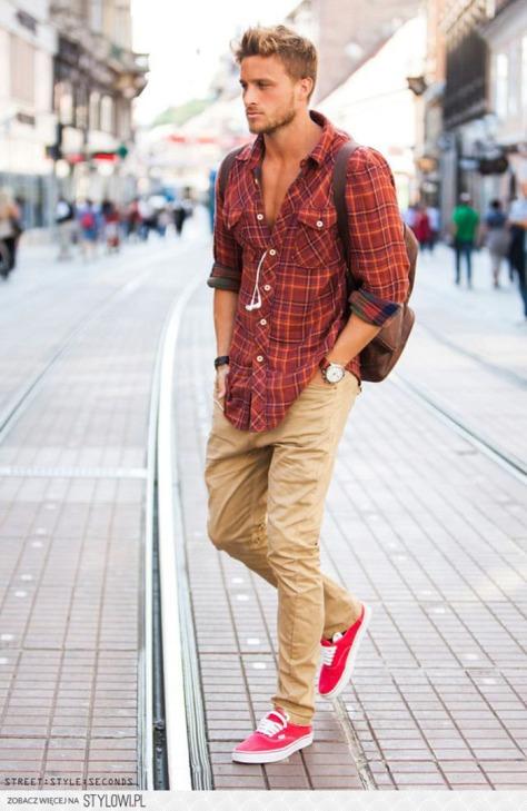 camisa-xadrez-calca-chino-street-style